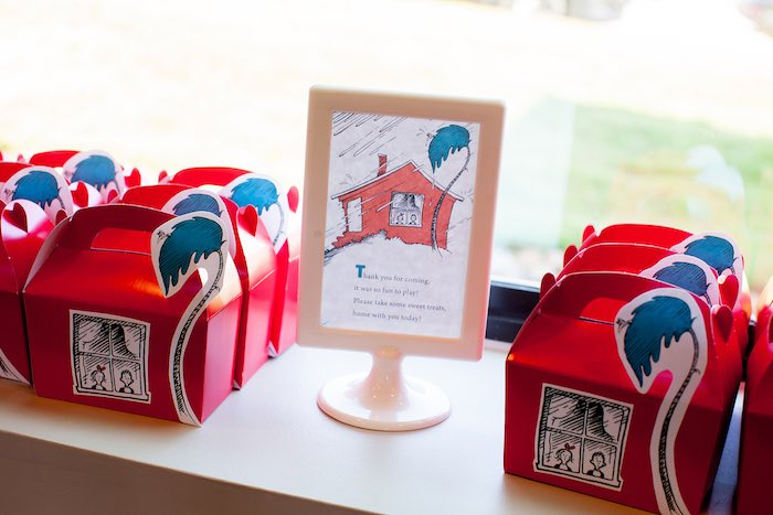 Walden house gable favor boxes from a Cat in the Hat themed Birthday Party via Kara's Party Ideas | KarasPartyIdeas.com - The Place for All Things Party! (6)