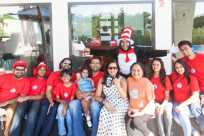 Party goers from a Cat in the Hat themed Birthday Party via Kara's Party Ideas | KarasPartyIdeas.com - The Place for All Things Party! (4)