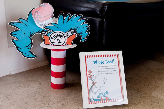 Cat in the Hat photo booth from a Cat in the Hat themed Birthday Party via Kara's Party Ideas | KarasPartyIdeas.com - The Place for All Things Party! (73)