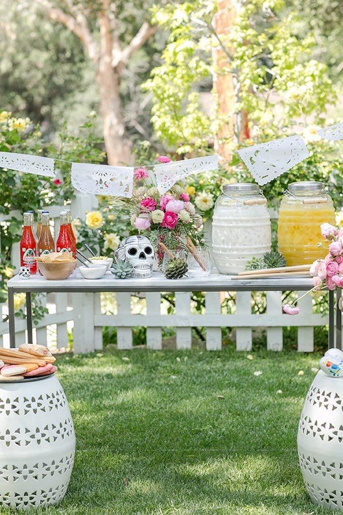 Garden Party Ideas diy fairy garden party ideas place cards and party favors Food Drink Table From A Cinco De Mayo Garden Party Via Karas Party Ideas Karaspartyideas