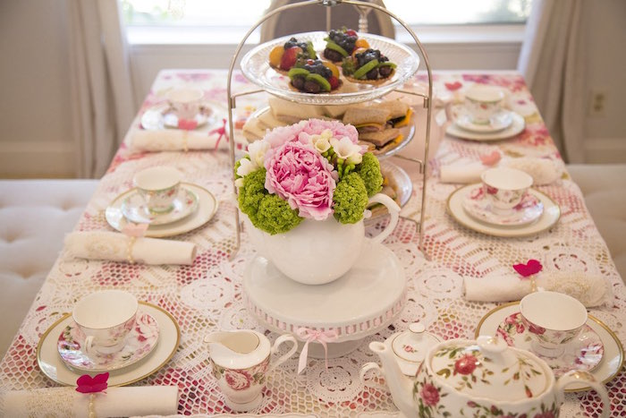 Tea table from a Colorful Tea Party via Kara's Party Ideas | KarasPartyIdeas.com (33)