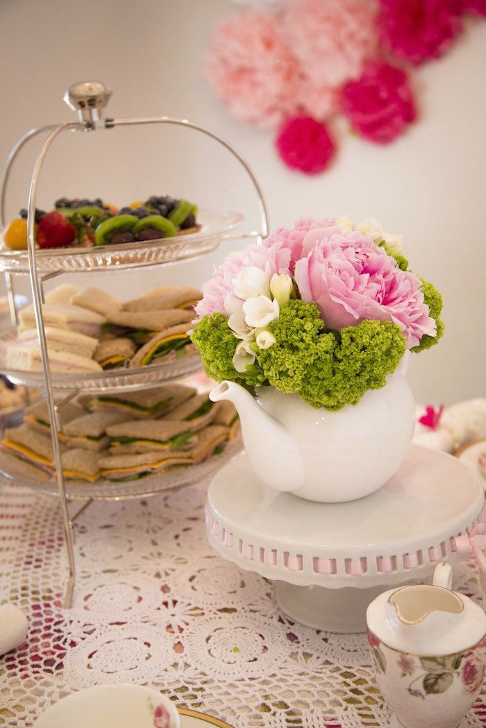 Tea kettle floral arrangement + centerpiece from a Colorful Tea Party via Kara's Party Ideas | KarasPartyIdeas.com (31)