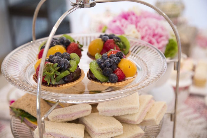 Fruit tarts and sandwiches from a Colorful Tea Party via Kara's Party Ideas | KarasPartyIdeas.com (24)