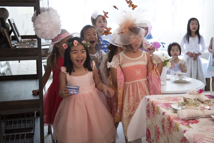 Surprised little girls from a Colorful Tea Party via Kara's Party Ideas | KarasPartyIdeas.com (22)