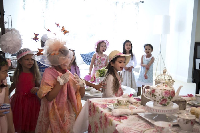 Surprised little girls from a Colorful Tea Party via Kara's Party Ideas | KarasPartyIdeas.com (21)