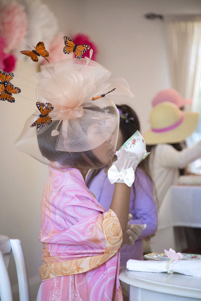 Little girl from a Colorful Tea Party via Kara's Party Ideas | KarasPartyIdeas.com (19)