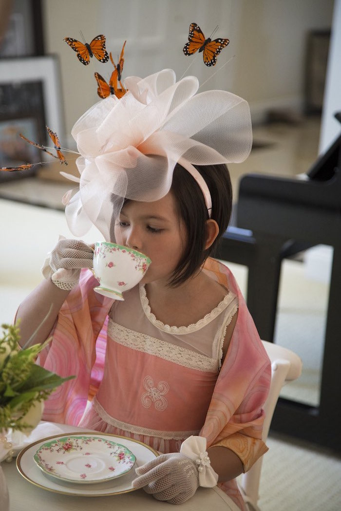 Little girl from a Colorful Tea Party via Kara's Party Ideas | KarasPartyIdeas.com (16)