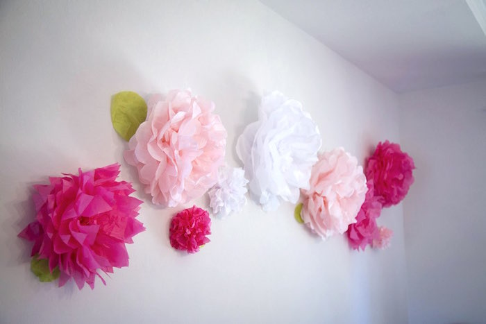 Pom pom paper flower backdrop from a Colorful Tea Party via Kara's Party Ideas | KarasPartyIdeas.com (4)