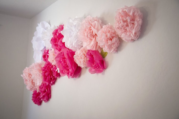 Pom pom & paper flower backdrop from a Colorful Tea Party via Kara's Party Ideas | KarasPartyIdeas.com (3)