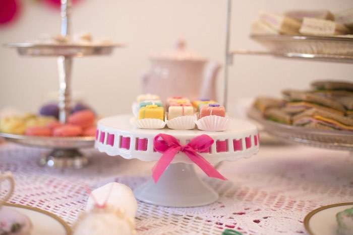 Dessert stand from a Colorful Tea Party via Kara's Party Ideas | KarasPartyIdeas.com (39)