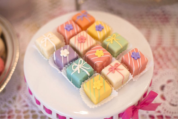 Present dessert squares from a Colorful Tea Party via Kara's Party Ideas | KarasPartyIdeas.com (38)