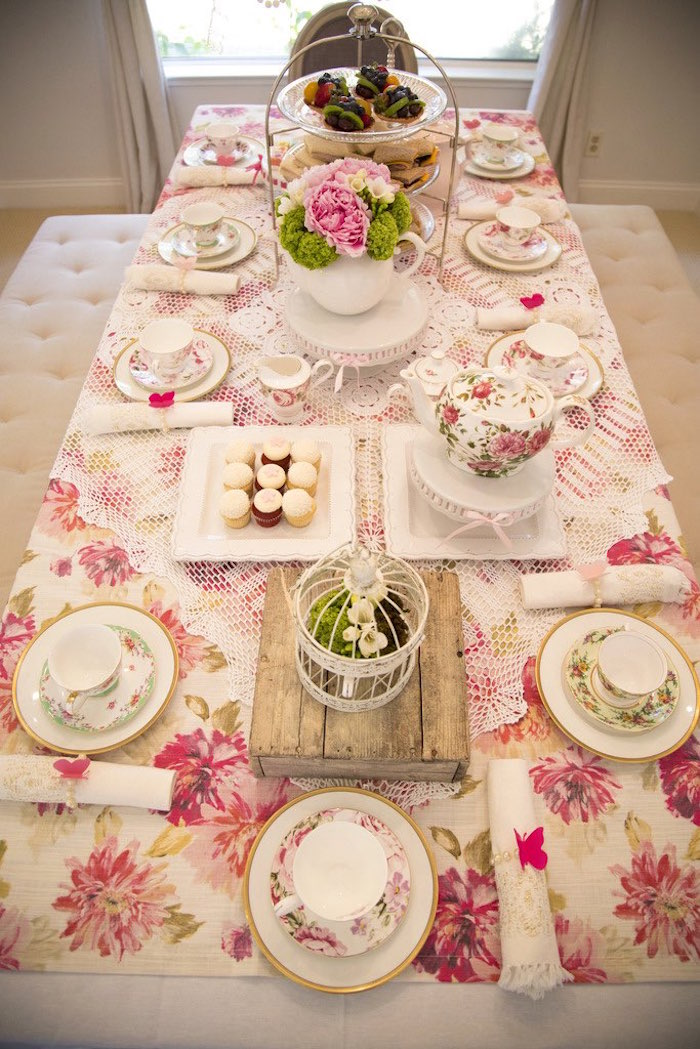 Tea tabletop from a Colorful Tea Party via Kara's Party Ideas | KarasPartyIdeas.com (34)
