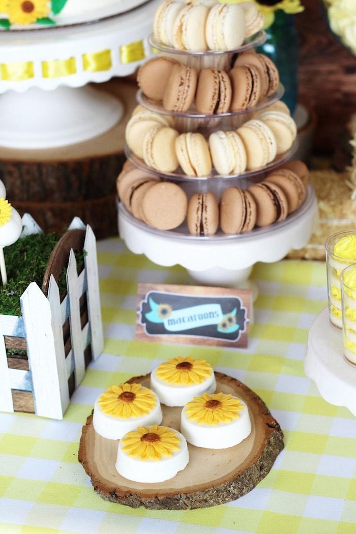 Chocolate Coated Sunflower Oreos Macarons From A Country Fair Graduation Party Via Karas Ideas