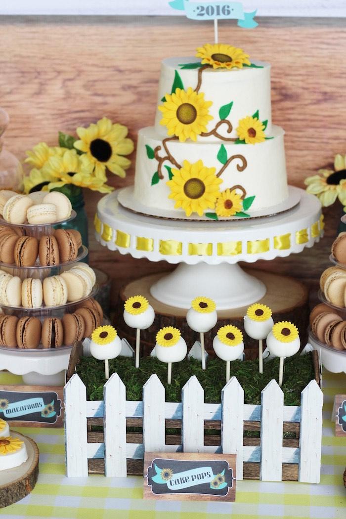 Sunflower cake + cake pops from a Country Fair Graduation Party via Kara's Party Ideas KarasPartyIdeas.com (21)