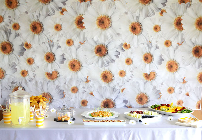 Food table from a Daisy Garden Themed Birthday Party via Kara's Party Ideas - KarasPartyIdeas.com (26)