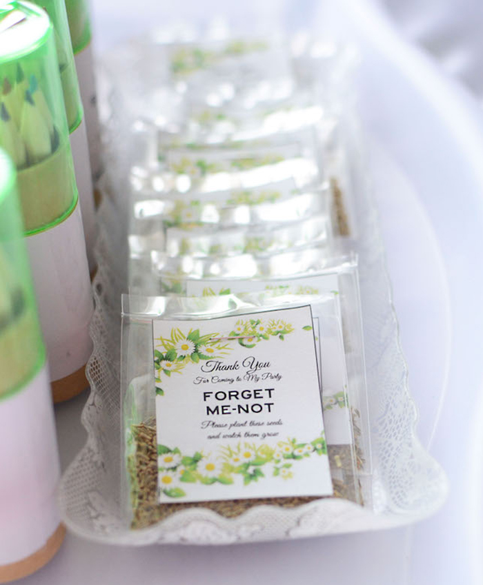 Flower seed packet favors from a Daisy Garden Themed Birthday Party via Kara's Party Ideas - KarasPartyIdeas.com (24)
