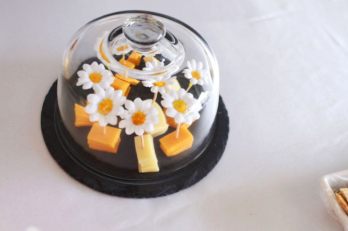 Cheese with daisy picks from a Daisy Garden Themed Birthday Party via Kara's Party Ideas - KarasPartyIdeas.com (23)