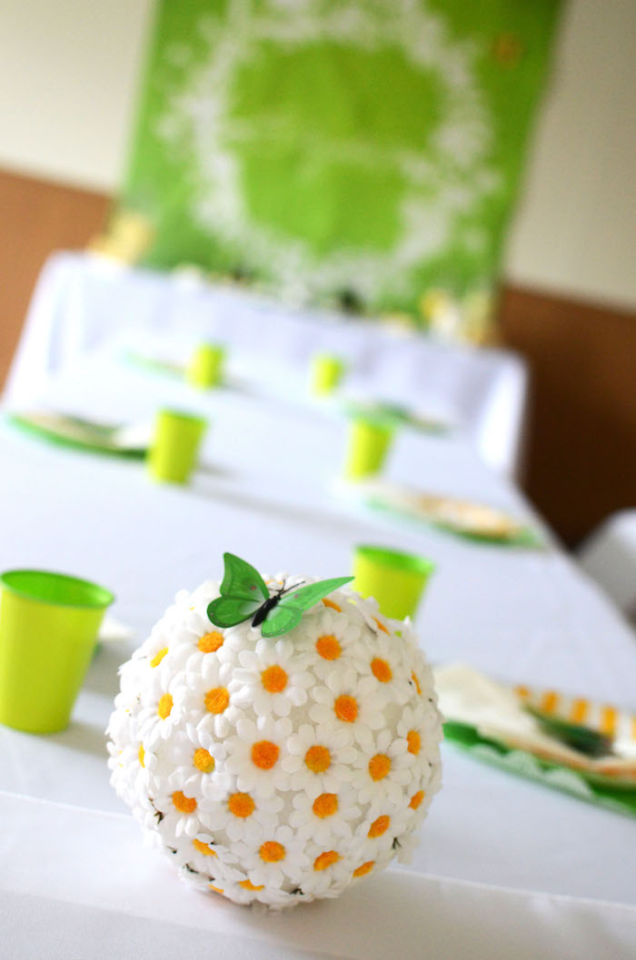 Daisy pomander ball from a Daisy Garden Themed Birthday Party via Kara's Party Ideas - KarasPartyIdeas.com (22)
