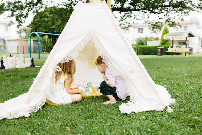 Lace tent for tea parties from a Daisy Garden Themed Birthday Party via Kara's Party Ideas - KarasPartyIdeas.com (17)