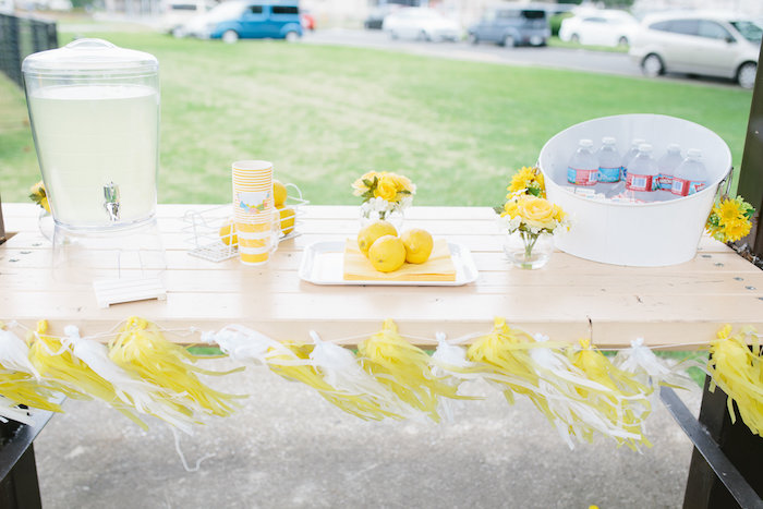 Drink table from a Daisy Garden Themed Birthday Party via Kara's Party Ideas - KarasPartyIdeas.com (14)