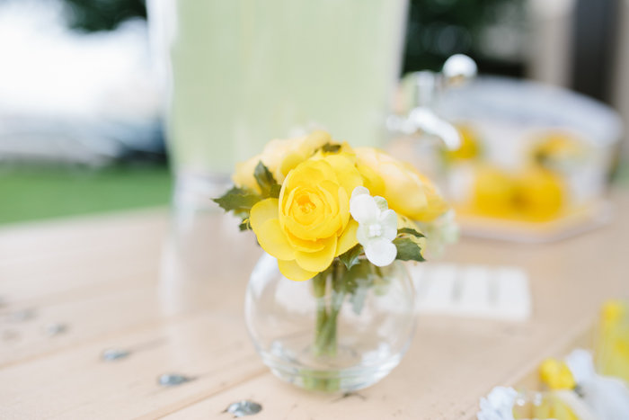 Floral centerpiece from a Daisy Garden Themed Birthday Party via Kara's Party Ideas - KarasPartyIdeas.com (13)
