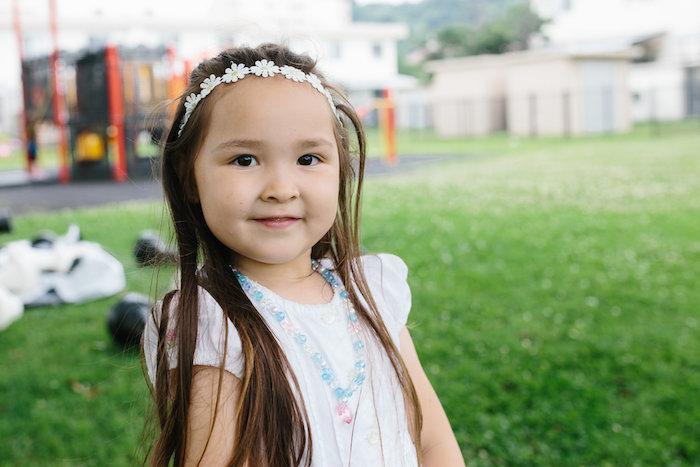 Little girl from a Daisy Garden Themed Birthday Party via Kara's Party Ideas - KarasPartyIdeas.com (12)