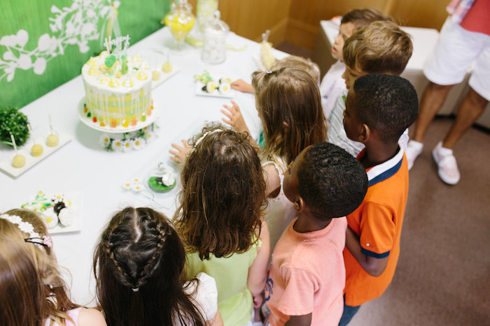 Kids at a sweet table from a Daisy Garden Themed Birthday Party via Kara's Party Ideas - KarasPartyIdeas.com (10)