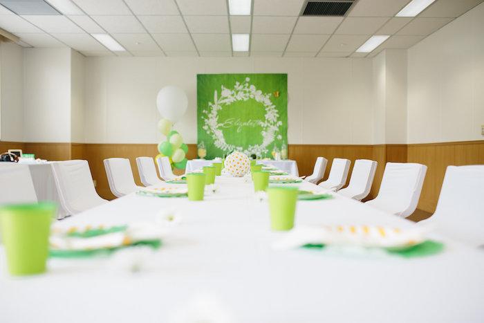 Dining tablescape from a Daisy Garden Themed Birthday Party via Kara's Party Ideas - KarasPartyIdeas.com (34)
