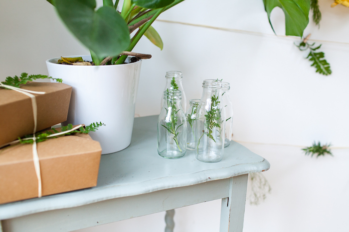 Glass bottles from an Elegant Botanical Garden Birthday Brunch via Kara's Party Ideas KarasPartyIdeas.com (11)