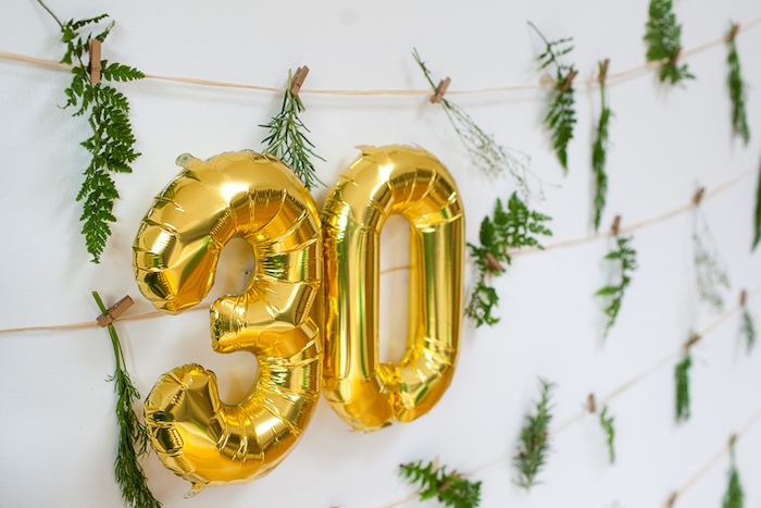 Hanging gold mylar balloons from an Elegant Botanical Garden Birthday Brunch via Kara's Party Ideas KarasPartyIdeas.com (7)