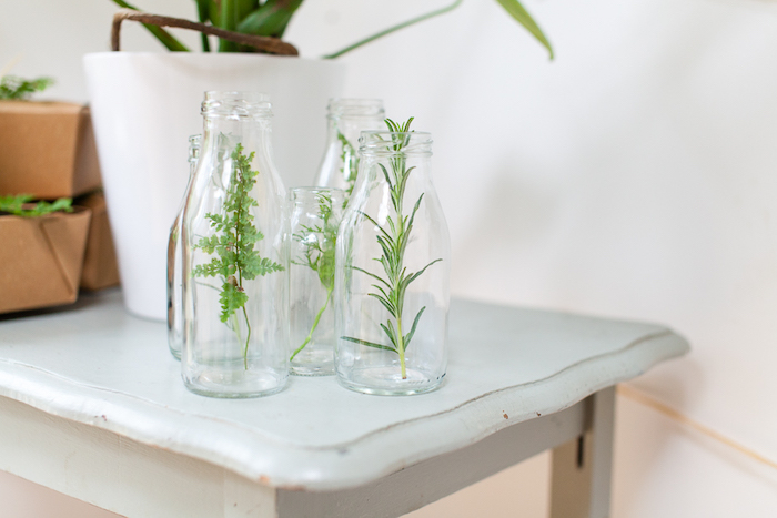 Plant sprigs placed in glass bottles from an Elegant Botanical Garden Birthday Brunch via Kara's Party Ideas KarasPartyIdeas.com (28)