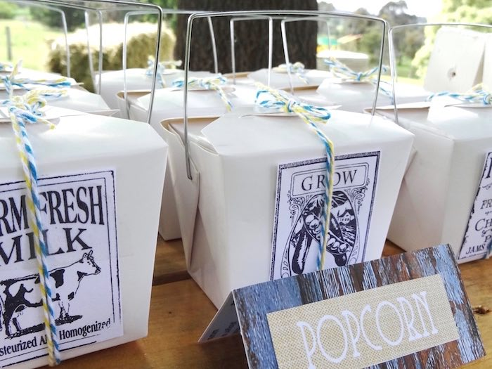 Popcorn-filled favor boxes from a Farm Fresh Birthday Party via Kara's Party Ideas | KarasPartyIdeas.com (27)