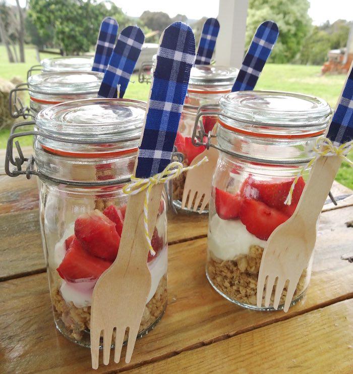 Snap lid dessert jars from a Farm Fresh Birthday Party via Kara's Party Ideas | KarasPartyIdeas.com (22)