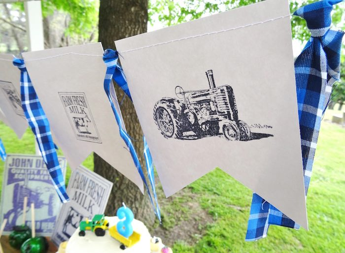 Tractor banner from a Farm Fresh Birthday Party via Kara's Party Ideas | KarasPartyIdeas.com (11)