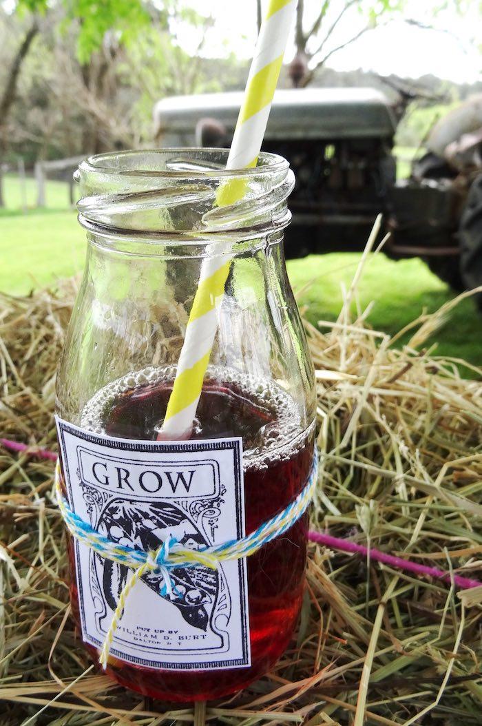 Drink bottle from a Farm Fresh Birthday Party via Kara's Party Ideas | KarasPartyIdeas.com (10)