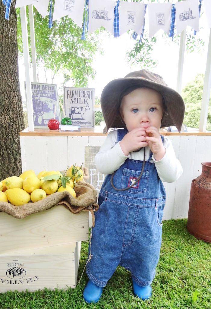 Little farm girl from a Farm Fresh Birthday Party via Kara's Party Ideas | KarasPartyIdeas.com (8)