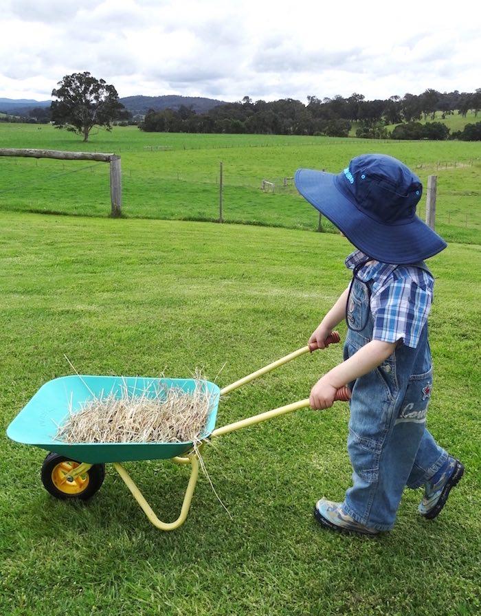 Birthday boy hauling hay from a Farm Fresh Birthday Party via Kara's Party Ideas | KarasPartyIdeas.com (5)