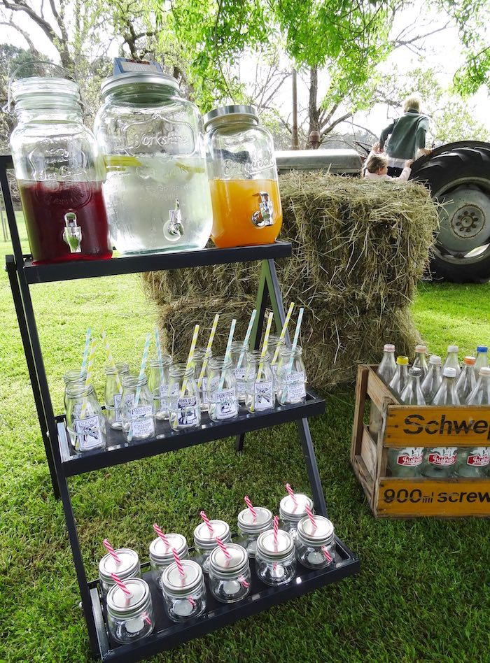 Drink cart from a Farm Fresh Birthday Party via Kara's Party Ideas | KarasPartyIdeas.com (32)
