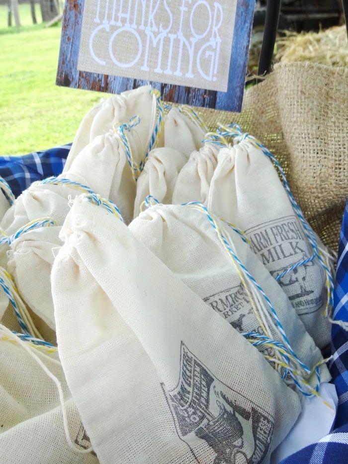 Stamped favor sacks from a Farm Fresh Birthday Party via Kara's Party Ideas | KarasPartyIdeas.com (30)