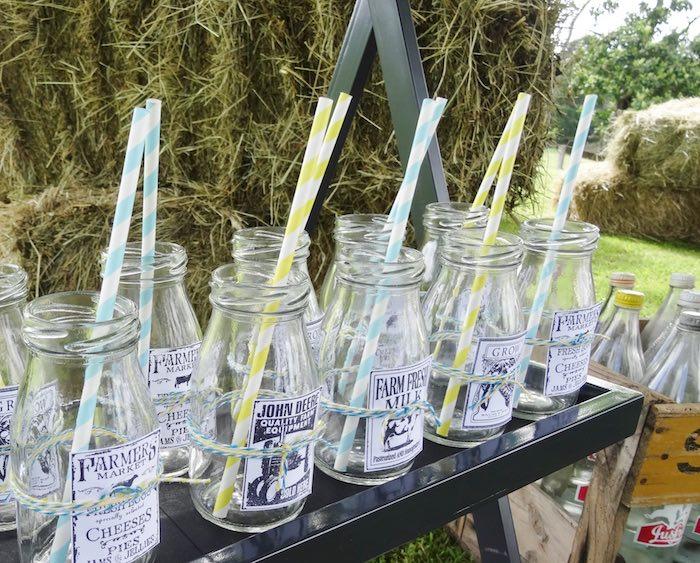 Glass milk bottles from a Farm Fresh Birthday Party via Kara's Party Ideas | KarasPartyIdeas.com (29)