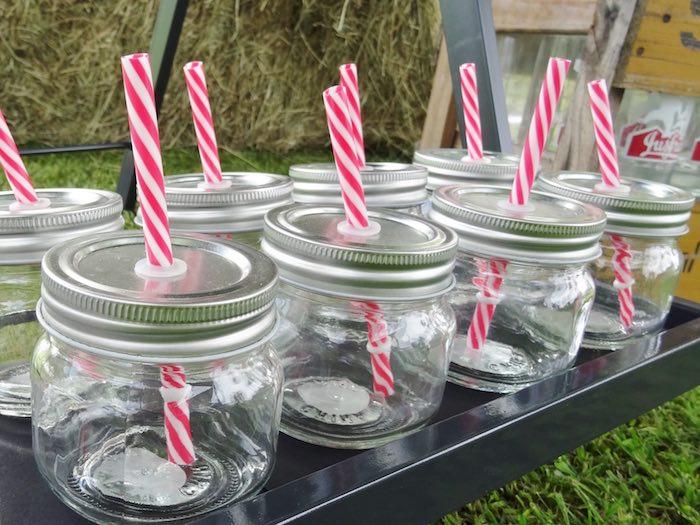 Mini mason drink jars from a Farm Fresh Birthday Party via Kara's Party Ideas | KarasPartyIdeas.com (28)