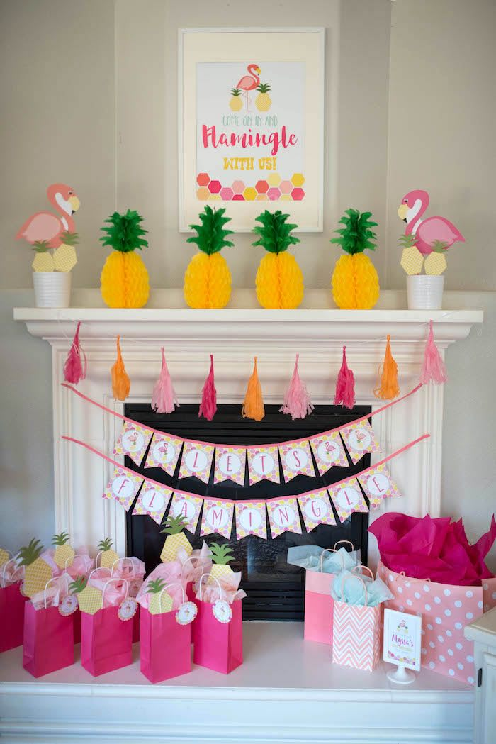 Flamingo party decor from a Flamingo + Flamingle Pineapple Party via Kara's Party Ideas | KarasPartyIdeas.com - The Place for All Things Party! (22)