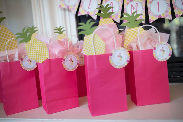 Favor bags from a Flamingo + Flamingle Pineapple Party via Kara's Party Ideas | KarasPartyIdeas.com - The Place for All Things Party! (20)