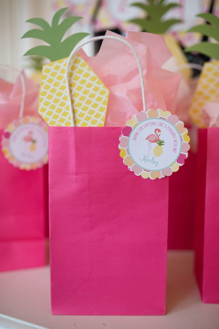 Favor bag from a Flamingo + Flamingle Pineapple Party via Kara's Party Ideas | KarasPartyIdeas.com - The Place for All Things Party! (19)