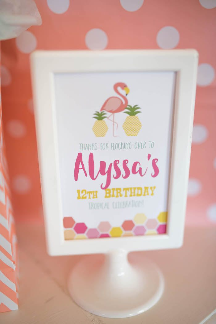 Party signage from a Flamingo + Flamingle Pineapple Party via Kara's Party Ideas | KarasPartyIdeas.com - The Place for All Things Party! (18)