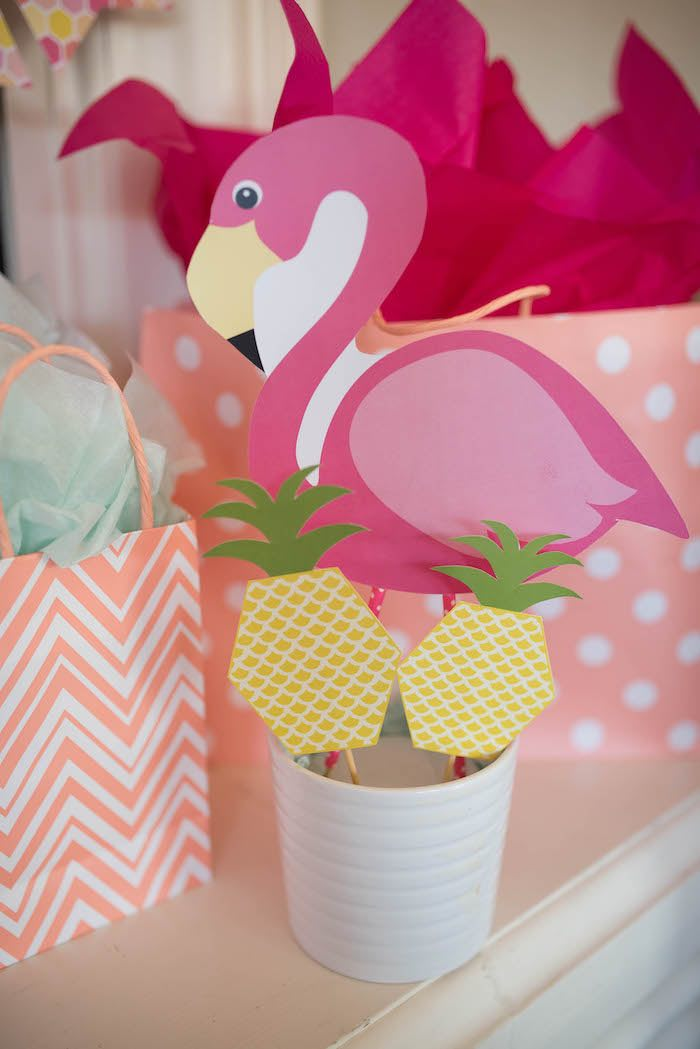 Tropical flamingo table centerpiece from a Flamingo + Flamingle Pineapple Party via Kara's Party Ideas | KarasPartyIdeas.com - The Place for All Things Party! (17)