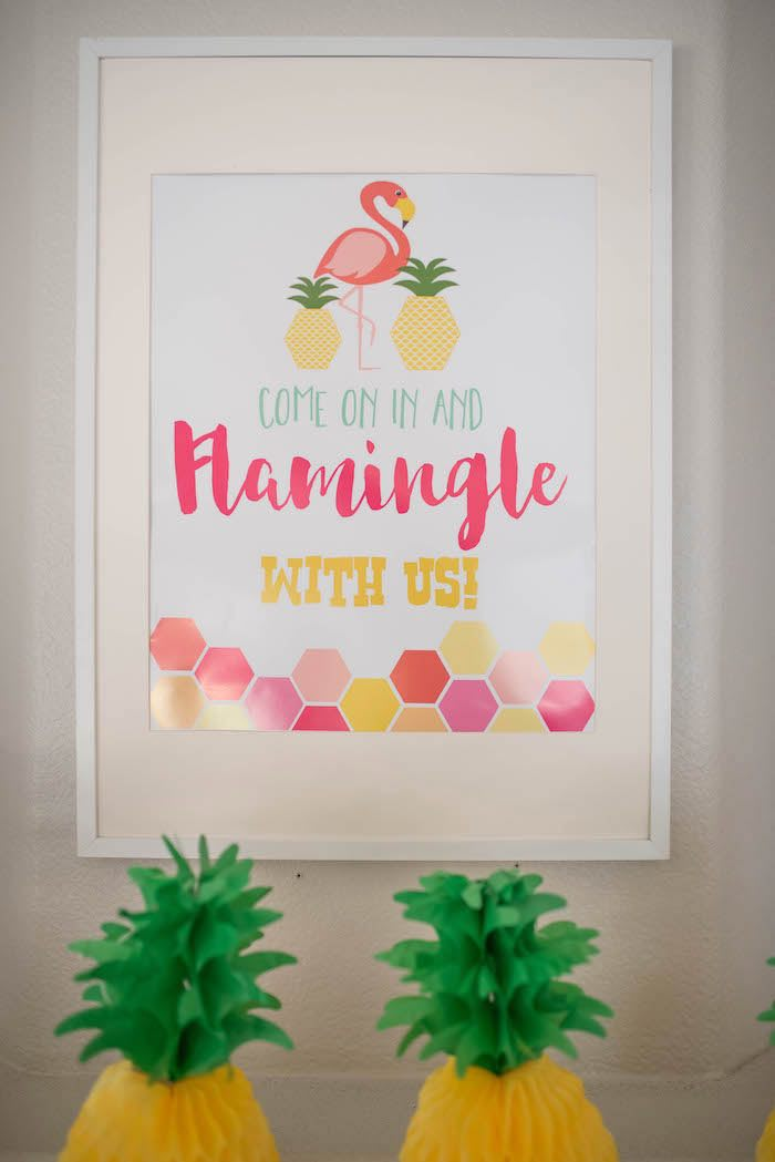 Party signage from a Flamingo + Flamingle Pineapple Party via Kara's Party Ideas | KarasPartyIdeas.com - The Place for All Things Party! (16)