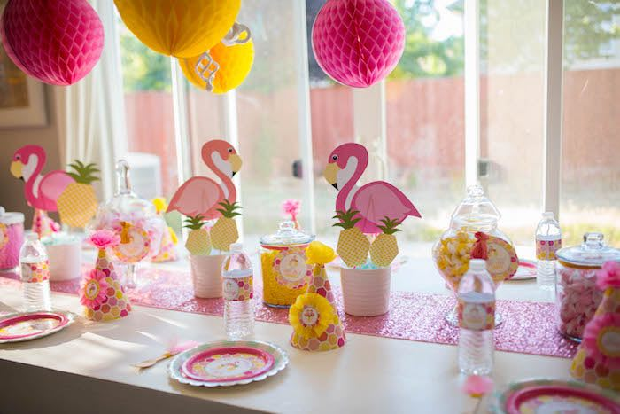 Flamingo dining table from a Flamingo + Flamingle Pineapple Party via Kara's Party Ideas | KarasPartyIdeas.com - The Place for All Things Party! (15)