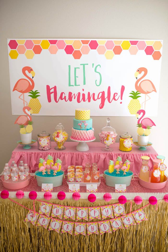 Dessert table from a Flamingo + Flamingle Pineapple Party via Kara's Party Ideas | KarasPartyIdeas.com - The Place for All Things Party! (31)