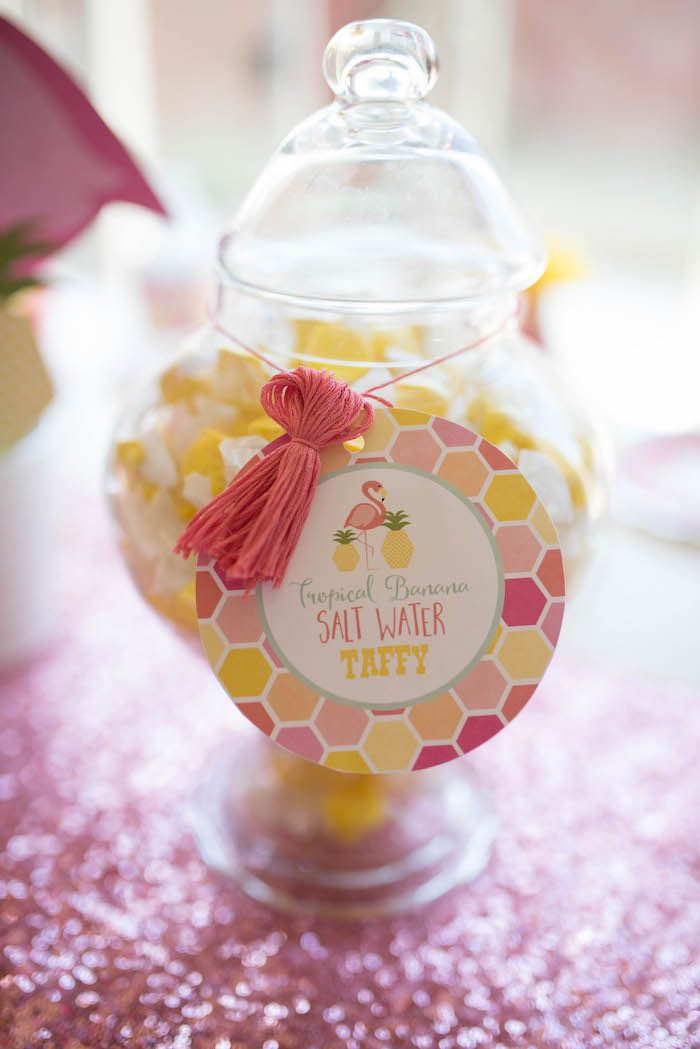 Candy jar from a Flamingo + Flamingle Pineapple Party via Kara's Party Ideas | KarasPartyIdeas.com - The Place for All Things Party! (11)